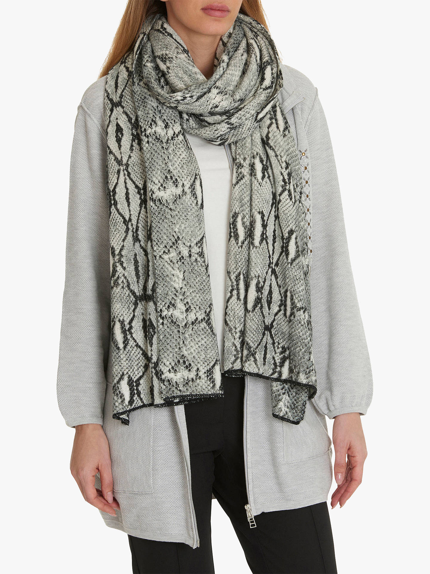 BuyBetty Barclay Snake Print Scarf, Grey Online at johnlewis.com