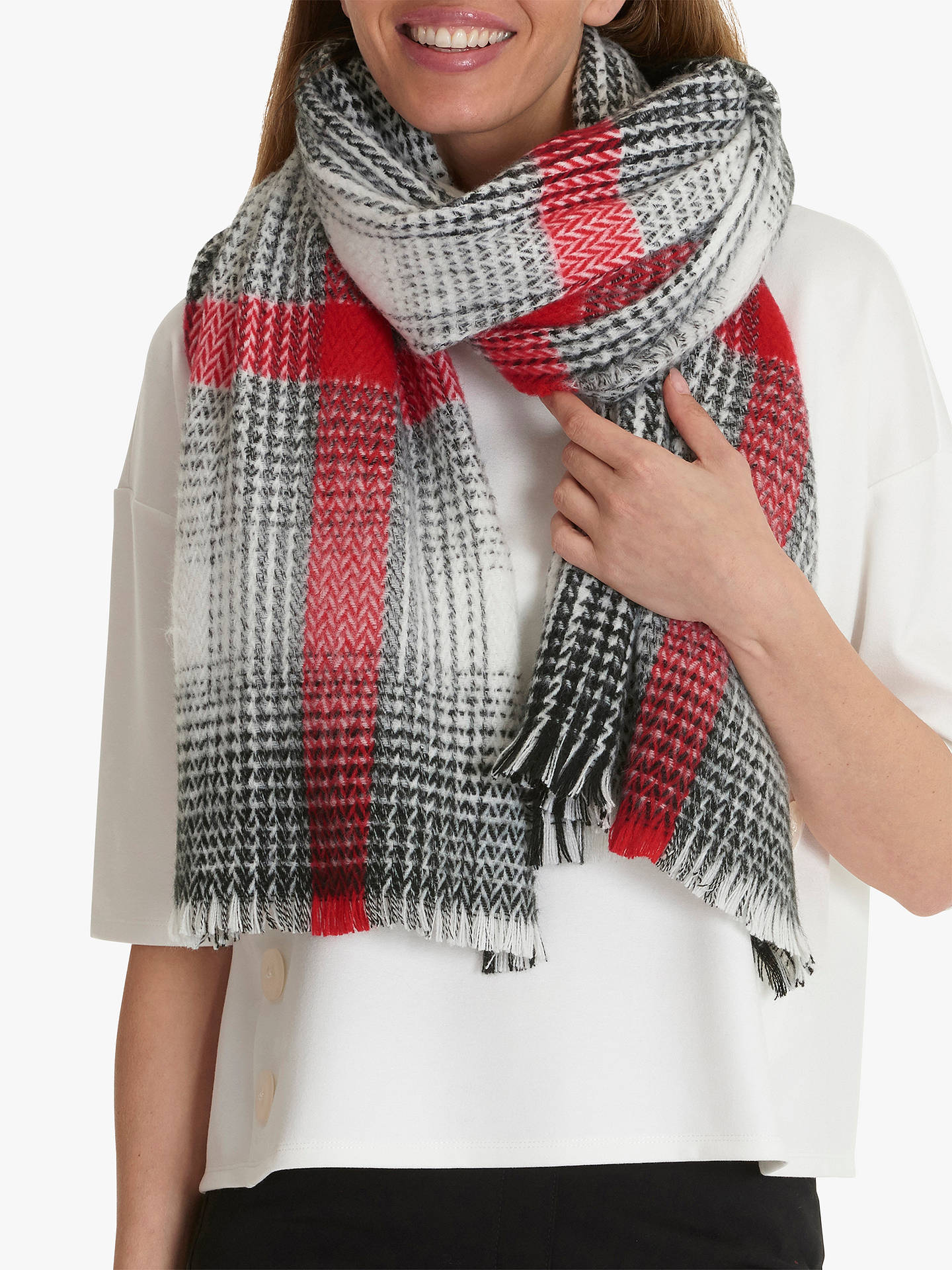 Buy Betty Barclay Check Scarf, Cream/Black Online at johnlewis.com