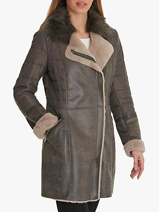 Betty Barclay Faux Shearling Coat, Slate Taupe