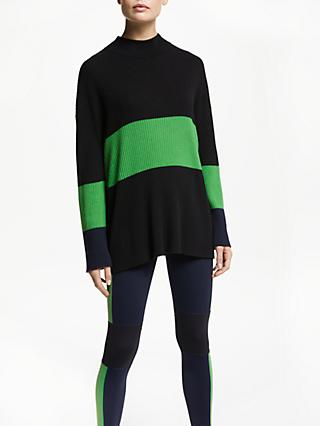PATTERNITY + John Lewis Ribbed Colour Block Jumper, Black/Green