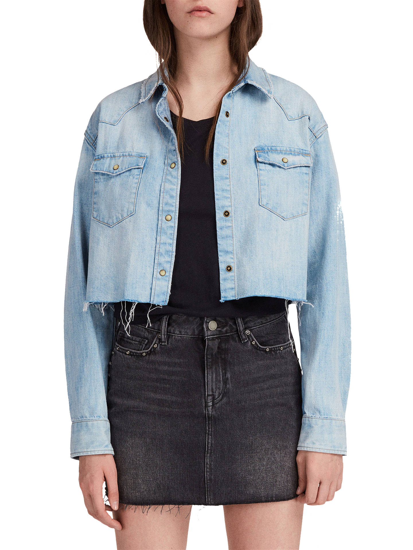4ad2ca59f8 Buy AllSaints Cannon Cropped Denim Shirt
