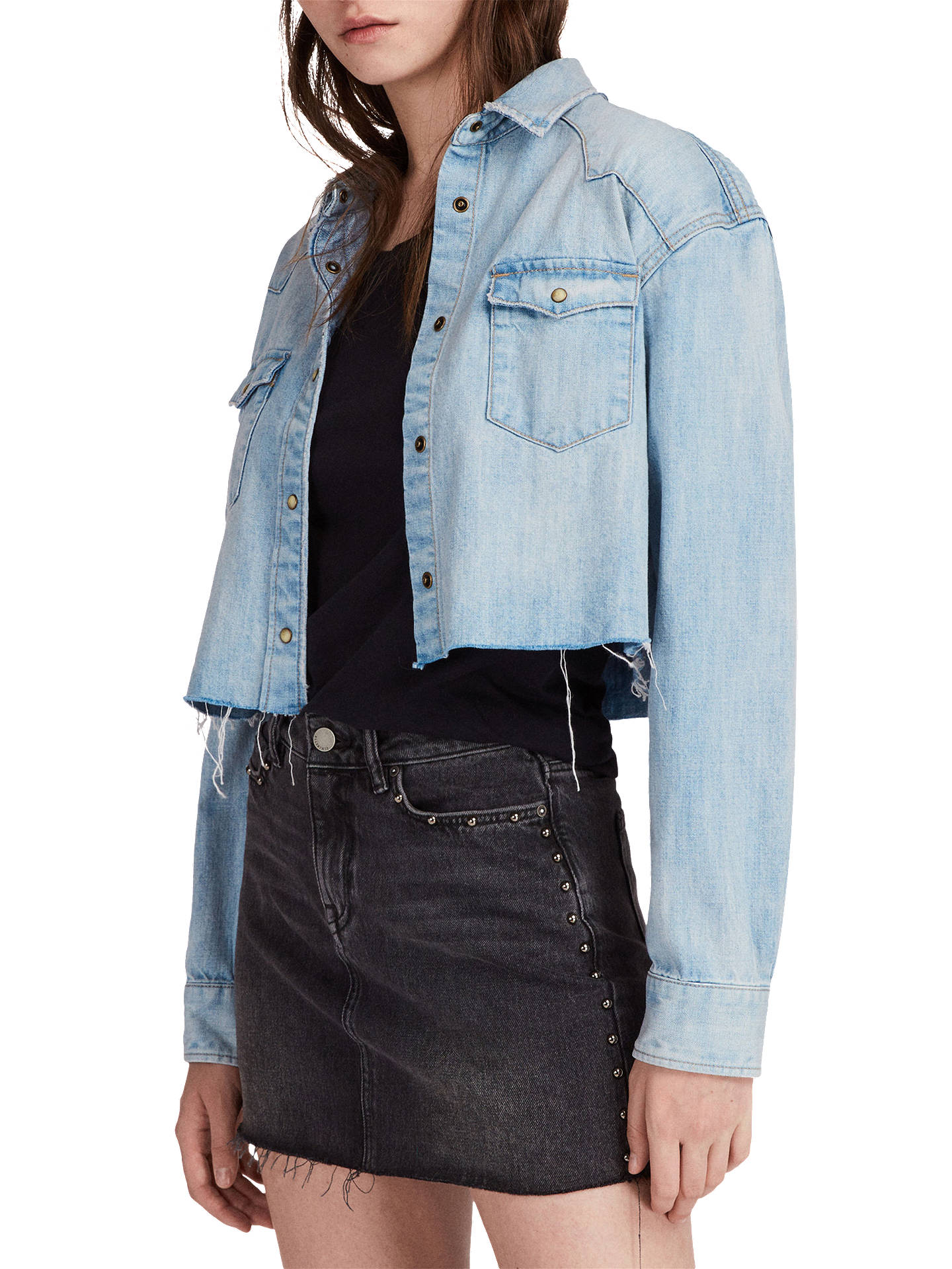2571de9af0 ... Buy AllSaints Cannon Cropped Denim Shirt