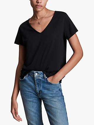 AllSaints Emelyn Tonic T-Shirt, Jet Black
