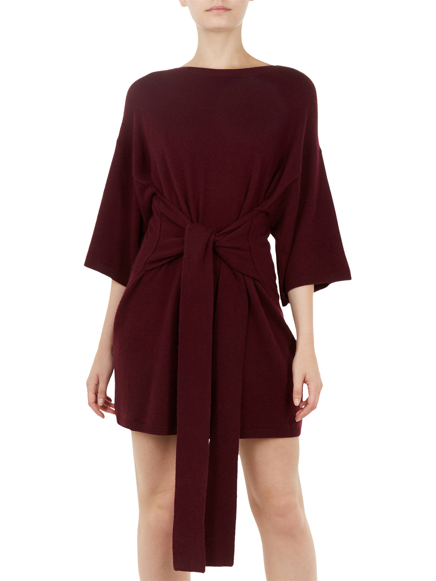 BuyTed Baker Ted Says Relax Olympy Tie Front Knitted Tunic Dress, Red, S Online at johnlewis.com