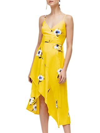 Warehouse Floral Wrap Dress, Yellow