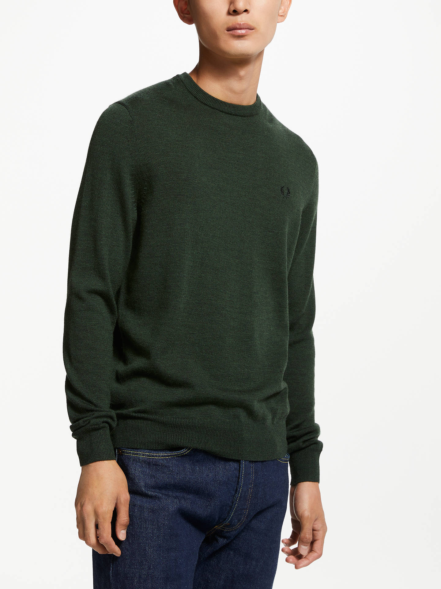 dbccd7f9a2a Fred Perry Classic Crew Neck Jumper, Green