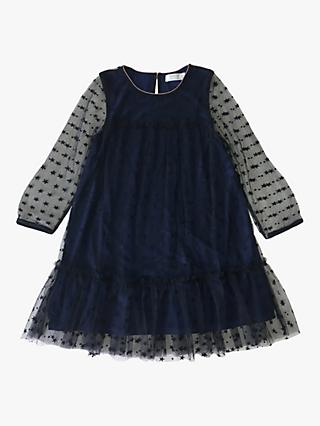 Outside the Lines Girls' Star Mesh Dress, Navy