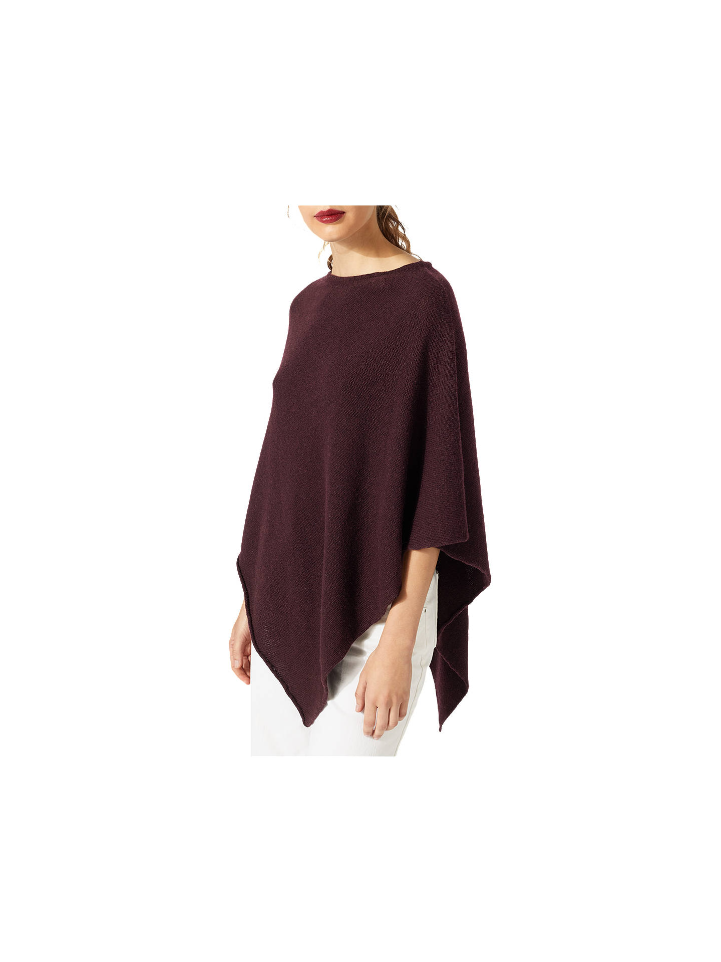 d97926787 ... Buy Jigsaw Wool Blend Rolled Poncho, Morello Cherry Online at  johnlewis.com ...