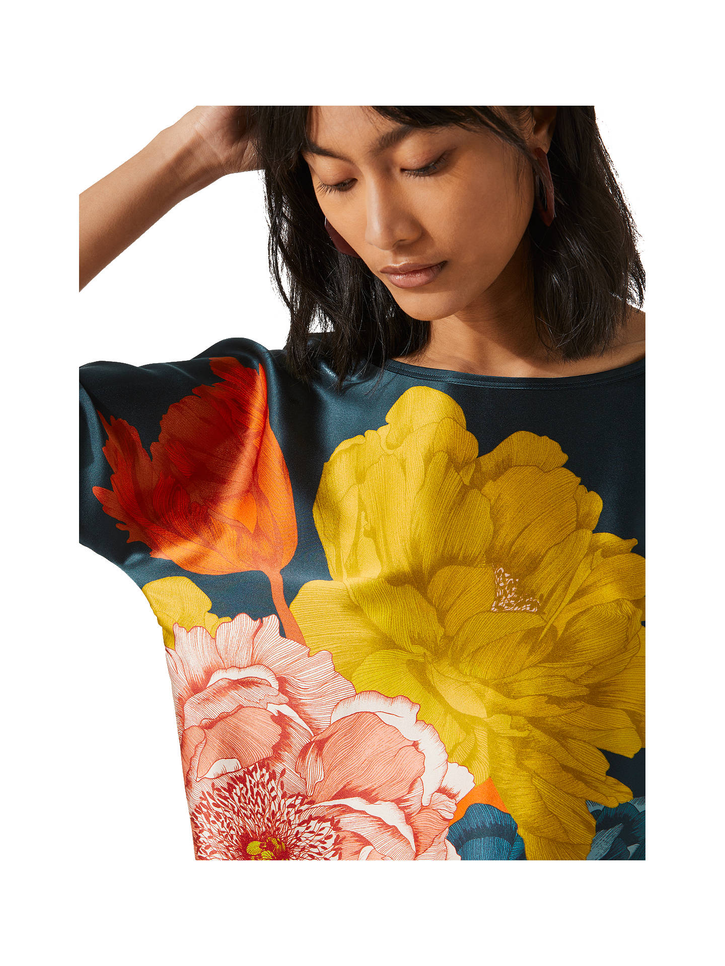 Buy Jigsaw Peony Silk Batwing Top, Eucalyptus, XS Online at johnlewis.com
