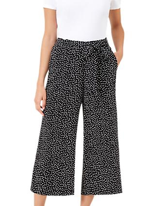 Hobbs Penny Spot Trousers, Black/Ivory
