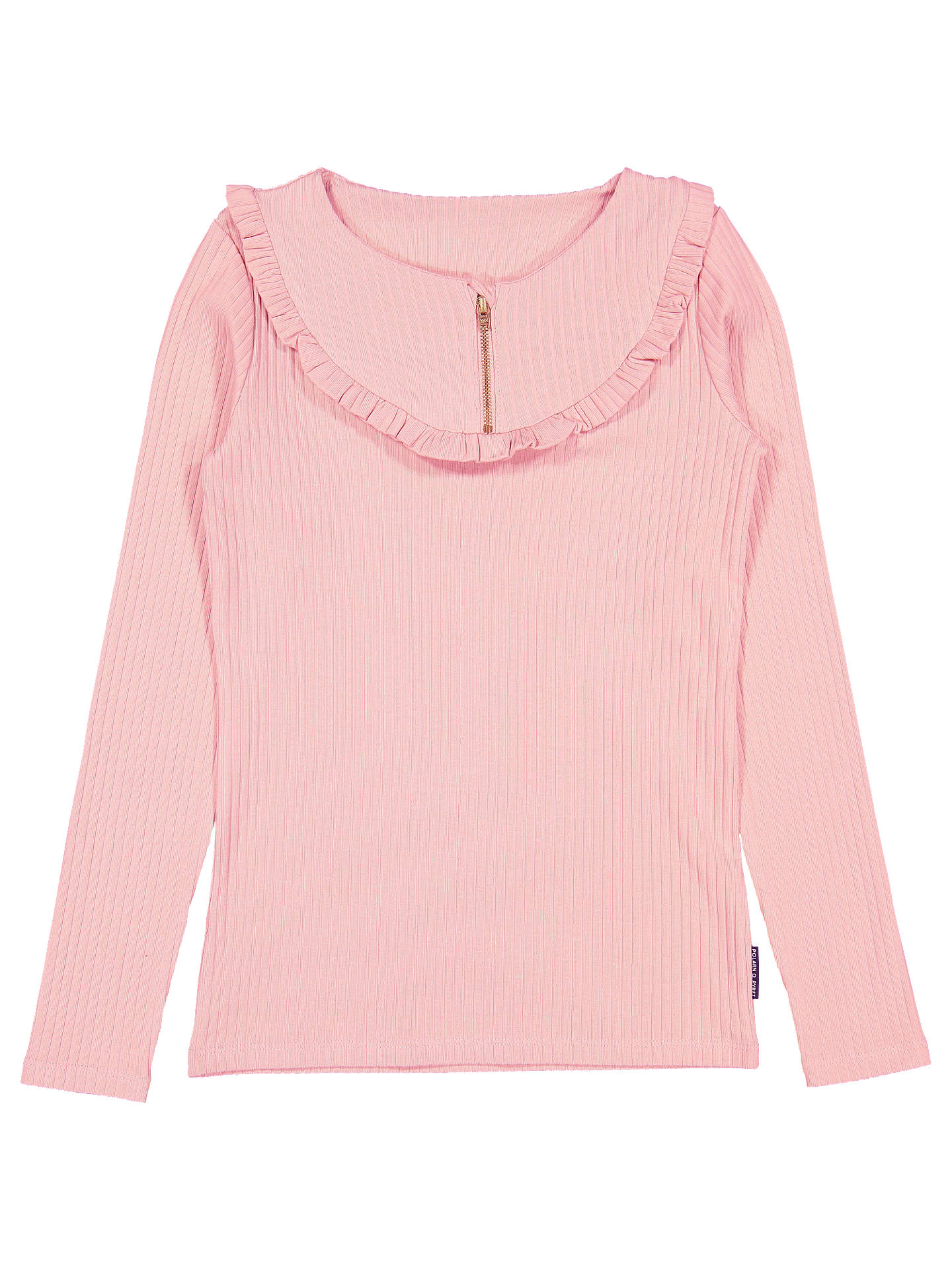 BuyPolarn O. Pyret Children's Ruffle Trim Rib Top, Pink, 6-8 years Online at johnlewis.com