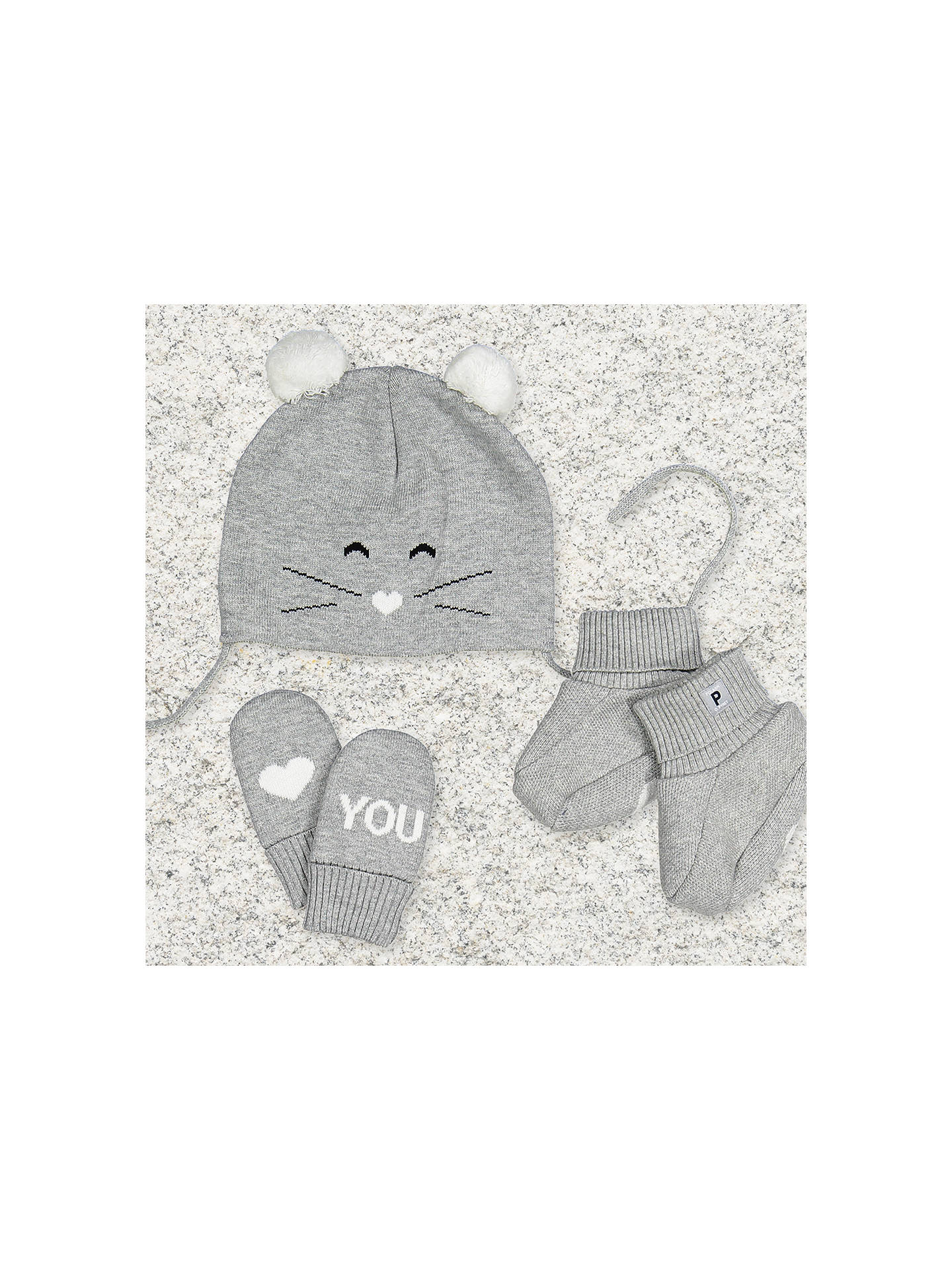 Buy Polarn O. Pyret Baby Mouse Hat, Grey Marl, 1-4 months Online at johnlewis.com