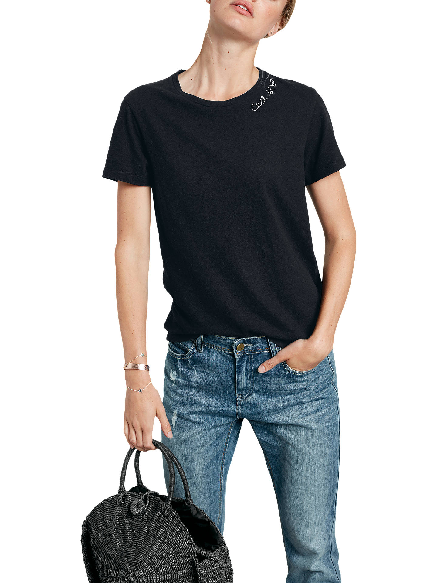 Buyhush 'Cest Si Bon' T-Shirt, Black, L Online at johnlewis.com