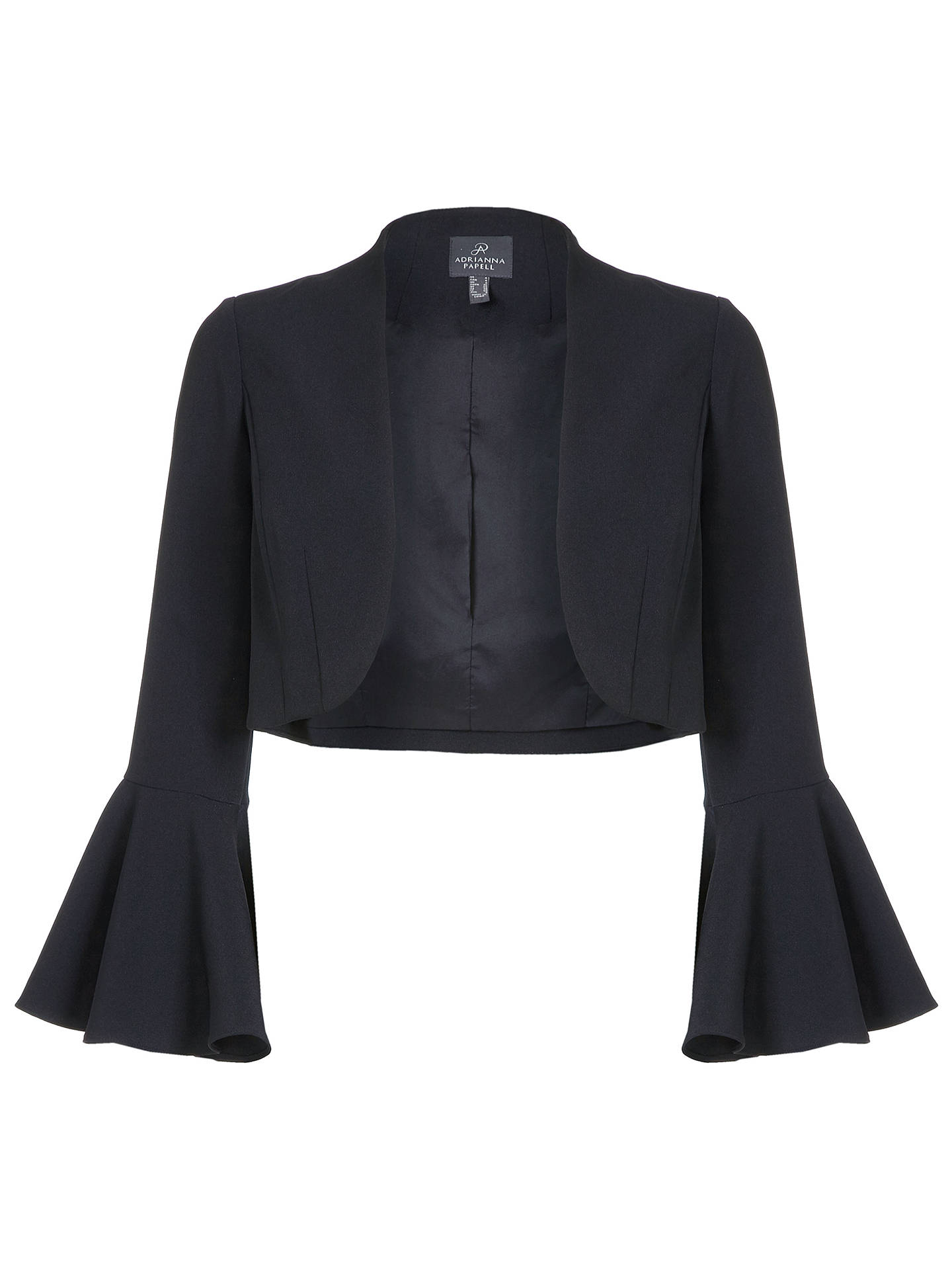 Buy Adrianna Papell Crepe Bell Sleeve Bolero, Black, 8 Online at johnlewis.com