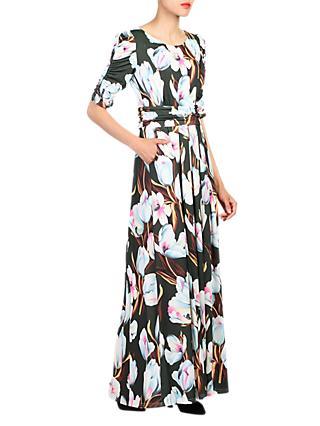 a8d03c822e Jolie Moi Floral Print Half Sleeve Maxi Dress, Dark Green/Multi