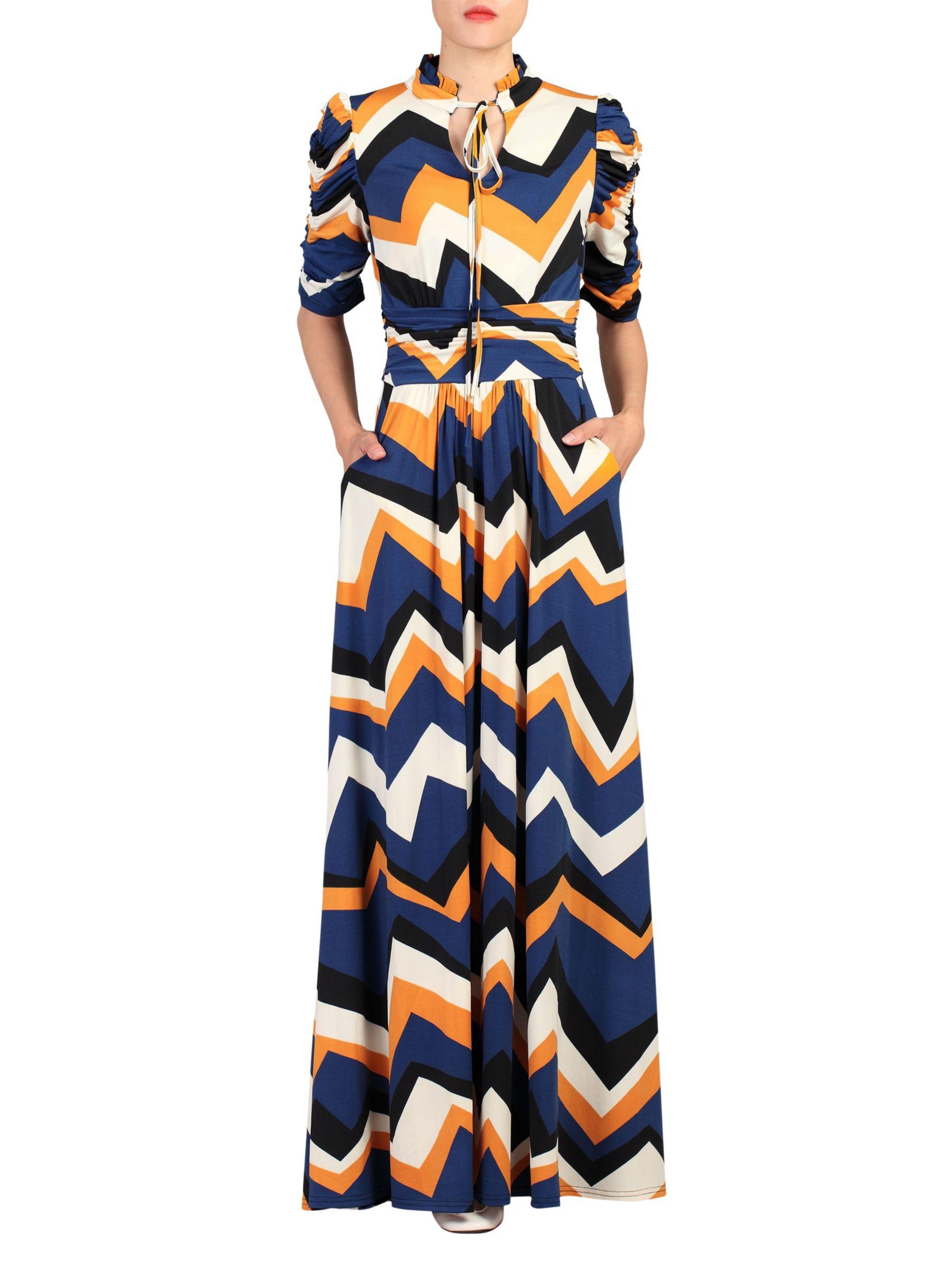ab7fd245d6 Jolie Moi Chevron Print Tie Collar Maxi Dress, Multi at John Lewis &  Partners
