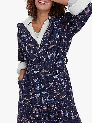 Joules Idlewhile  Woodland Ski Print Fleece Dressing Gown, Navy