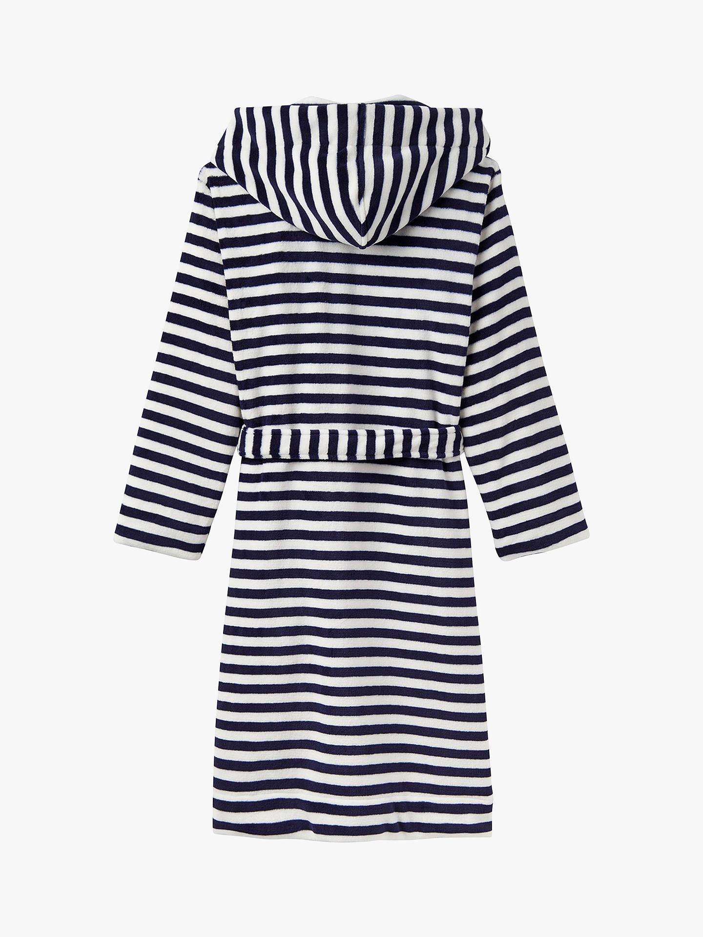 Joules Rita Stripe Fleece Dressing Gown Navywhite At John Lewis