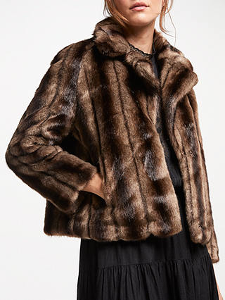 Buy Swildens Trial Faux Fur Coat, Brown, 8 Online at johnlewis.com