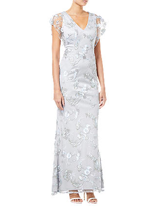 Buy Adrianna Papell Embroidered Gown, Silver, 8 Online at johnlewis.com