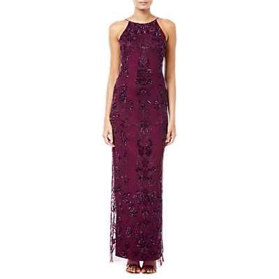 Adrianna Papell Beaded Long Dress, Red Wine