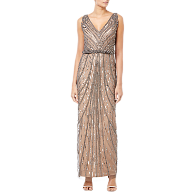 Adrianna Papell Beaded Long Dress, Natural