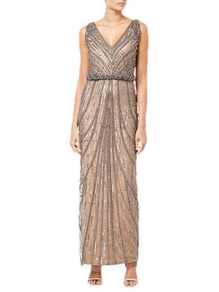 Buy Adrianna Papell Beaded Long Dress, Natural, 6 Online at johnlewis.com