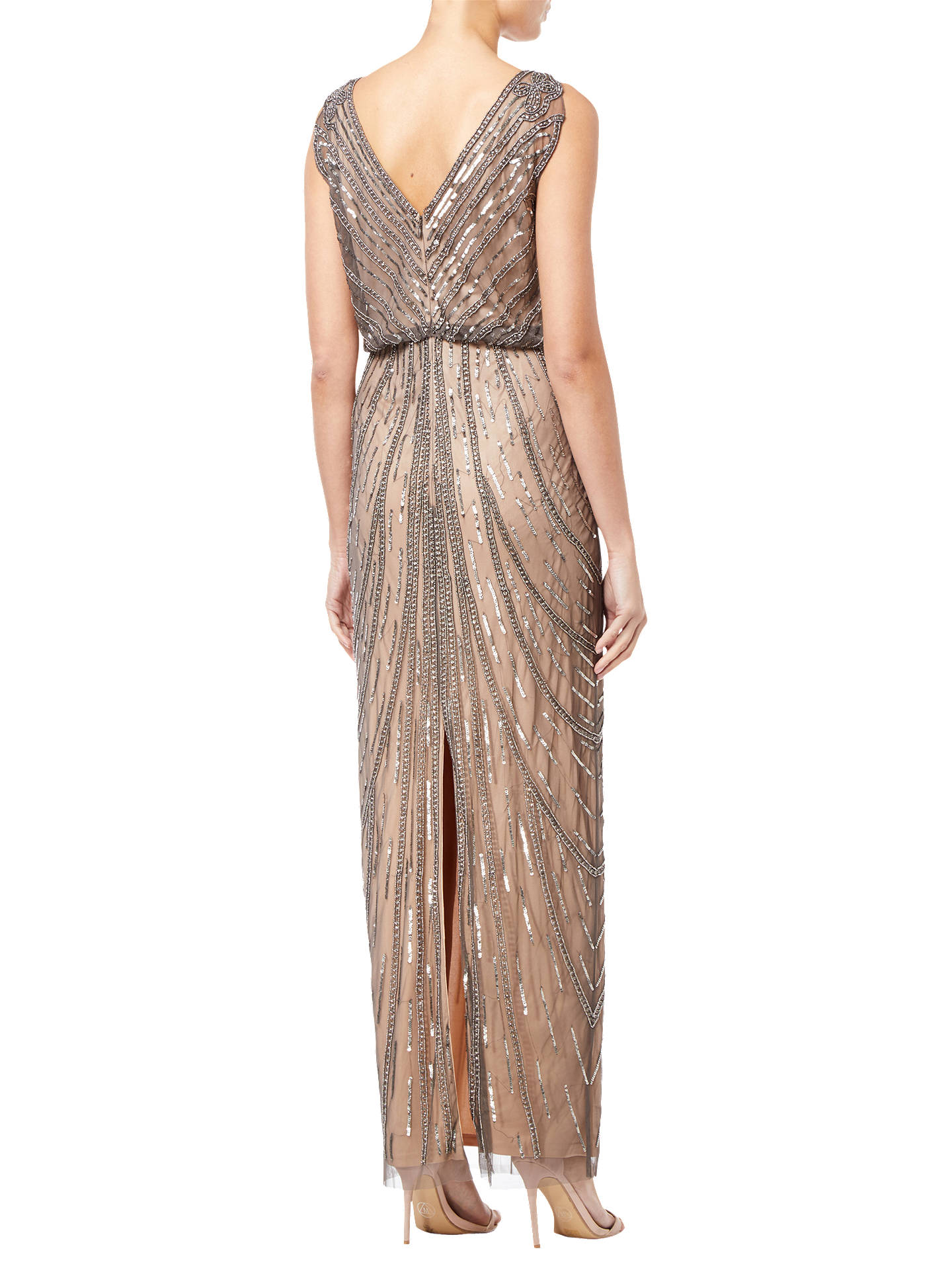 BuyAdrianna Papell Beaded Long Dress, Natural, 10 Online at johnlewis.com