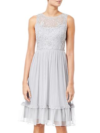 Adrianna Papell Embroidered Party Dress, Silver