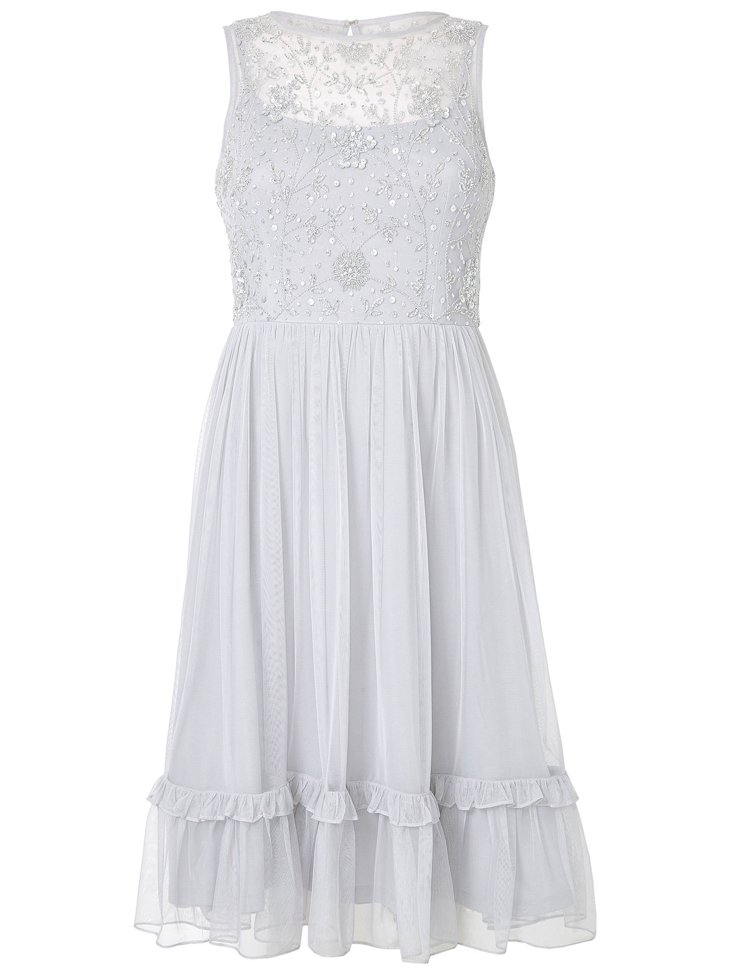 Buy Adrianna Papell Embroidered Party Dress, Silver, 6 Online at johnlewis.com