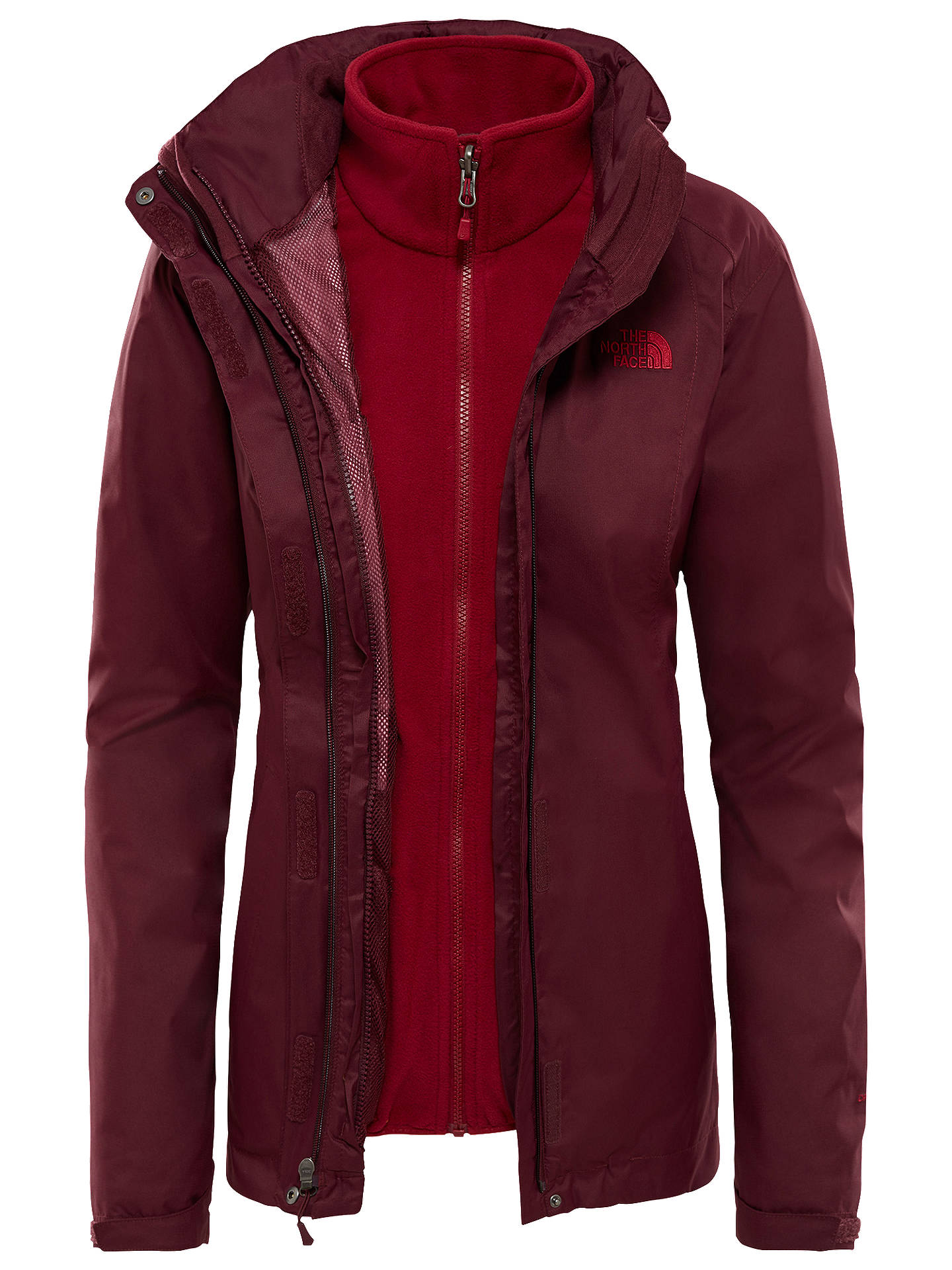 BuyThe North Face Evolve Triclimate Women's Jacket, Fig Brown/Rumba Red, S Online at johnlewis.com