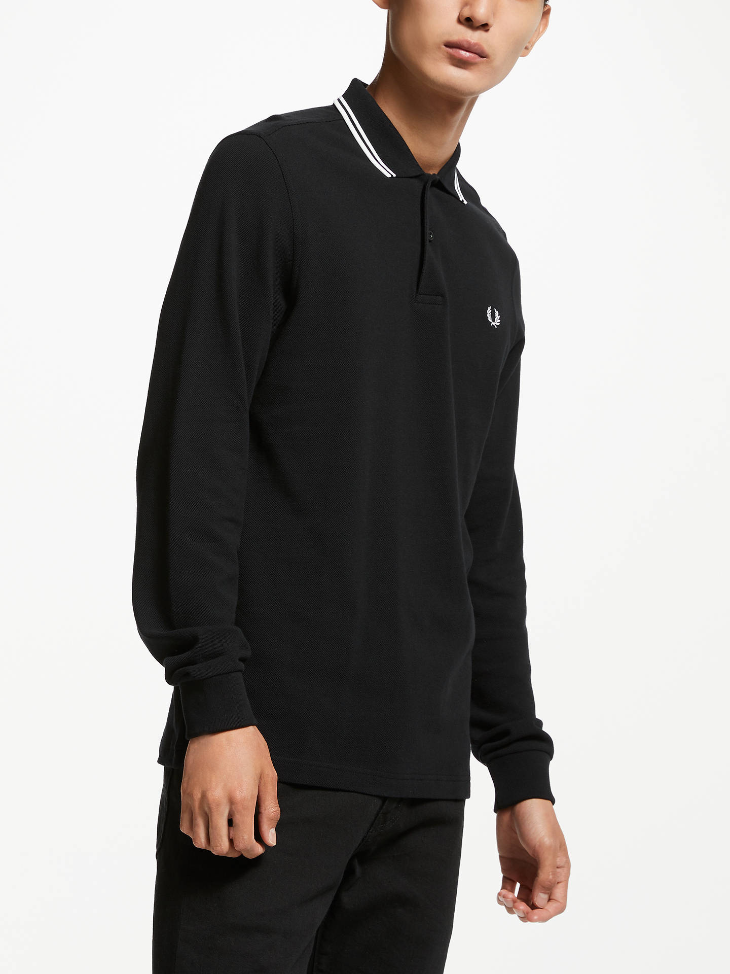 afc94279 Buy Fred Perry Long Sleeve Twin Tipped Polo Shirt, Black, XL Online at  johnlewis ...