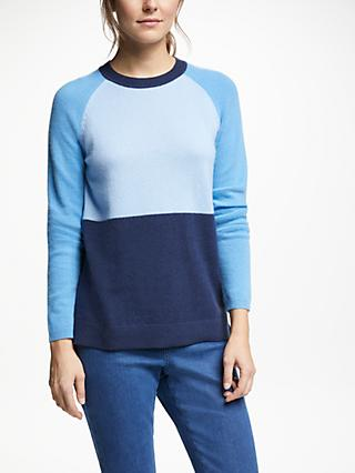 Collection WEEKEND by John Lewis Colour Block Cashmere Jumper, Blue