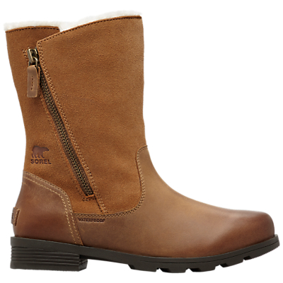 Sorel Emelie Foldover Block Heel Ankle Snow Boots, Brown Suede