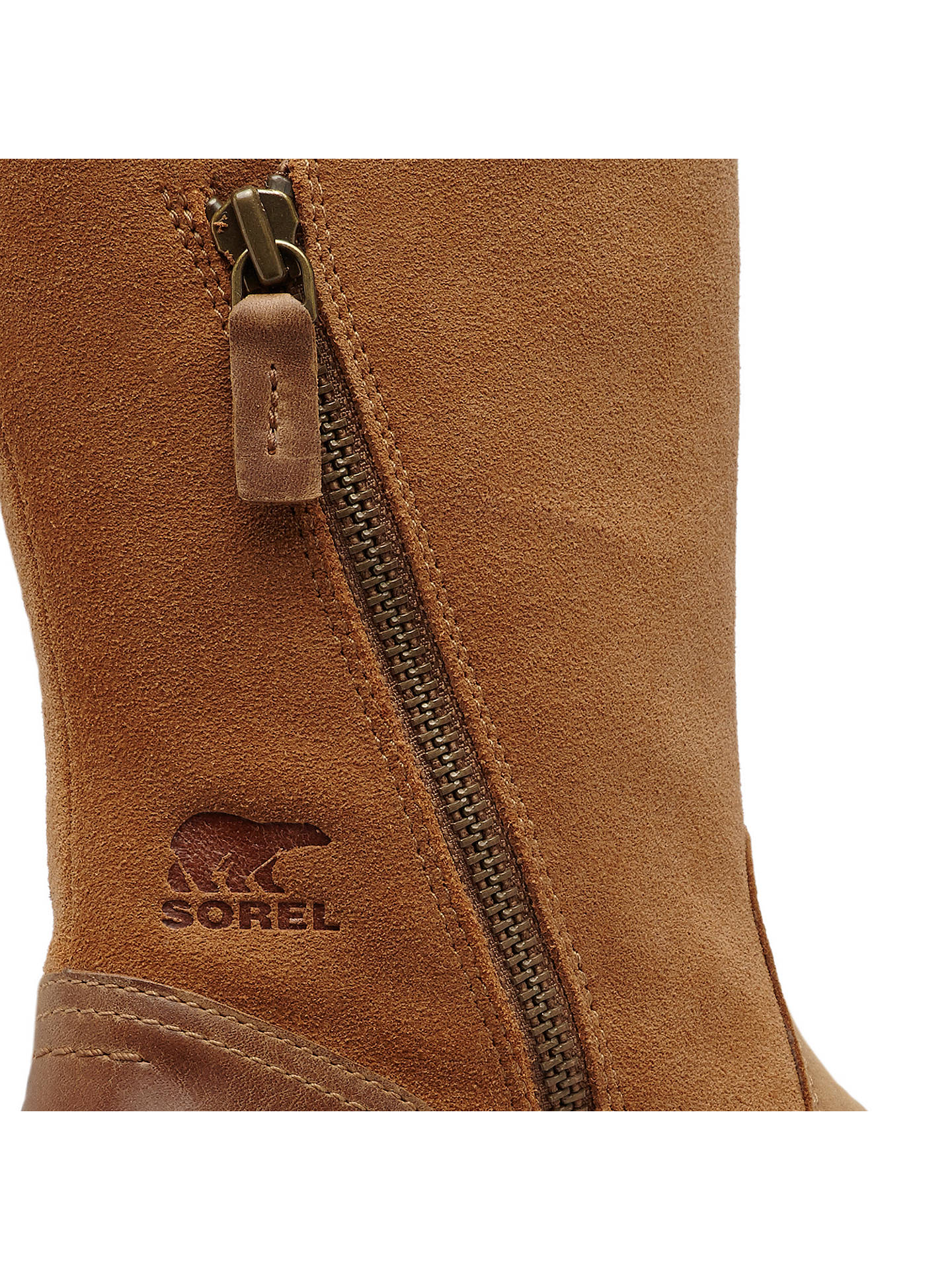 BuySorel Emelie Foldover Block Heel Ankle Snow Boots, Brown Suede, 6 Online at johnlewis.com
