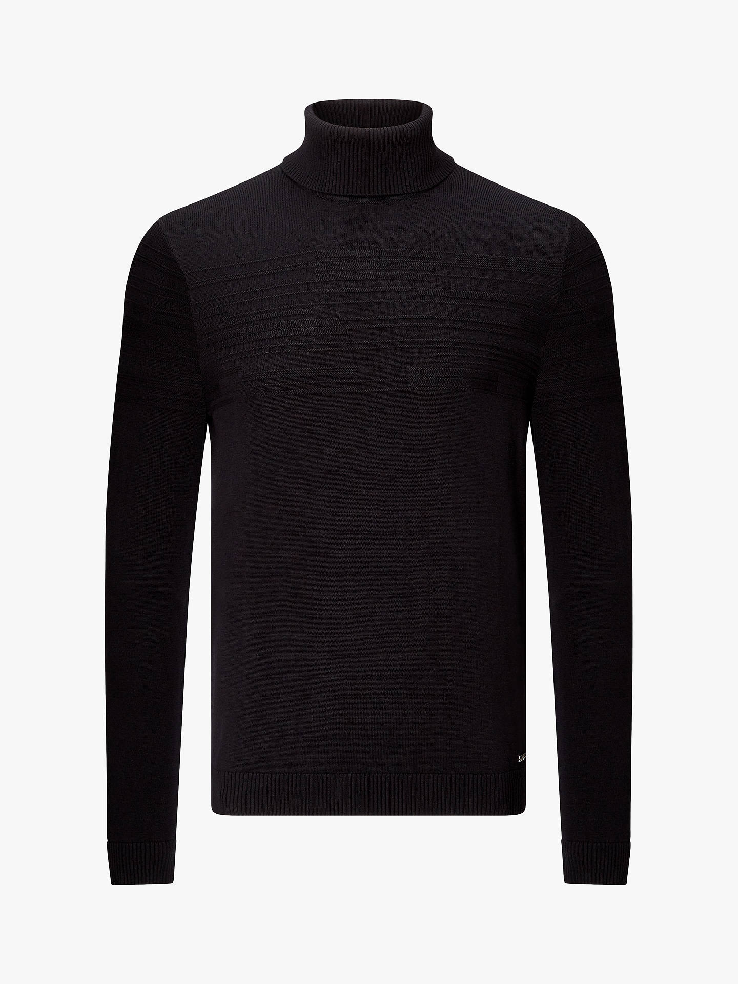 68339914ea2 HUGO by Hugo Boss Sisealon Wool Cotton Roll Neck Jumper, Black at ...