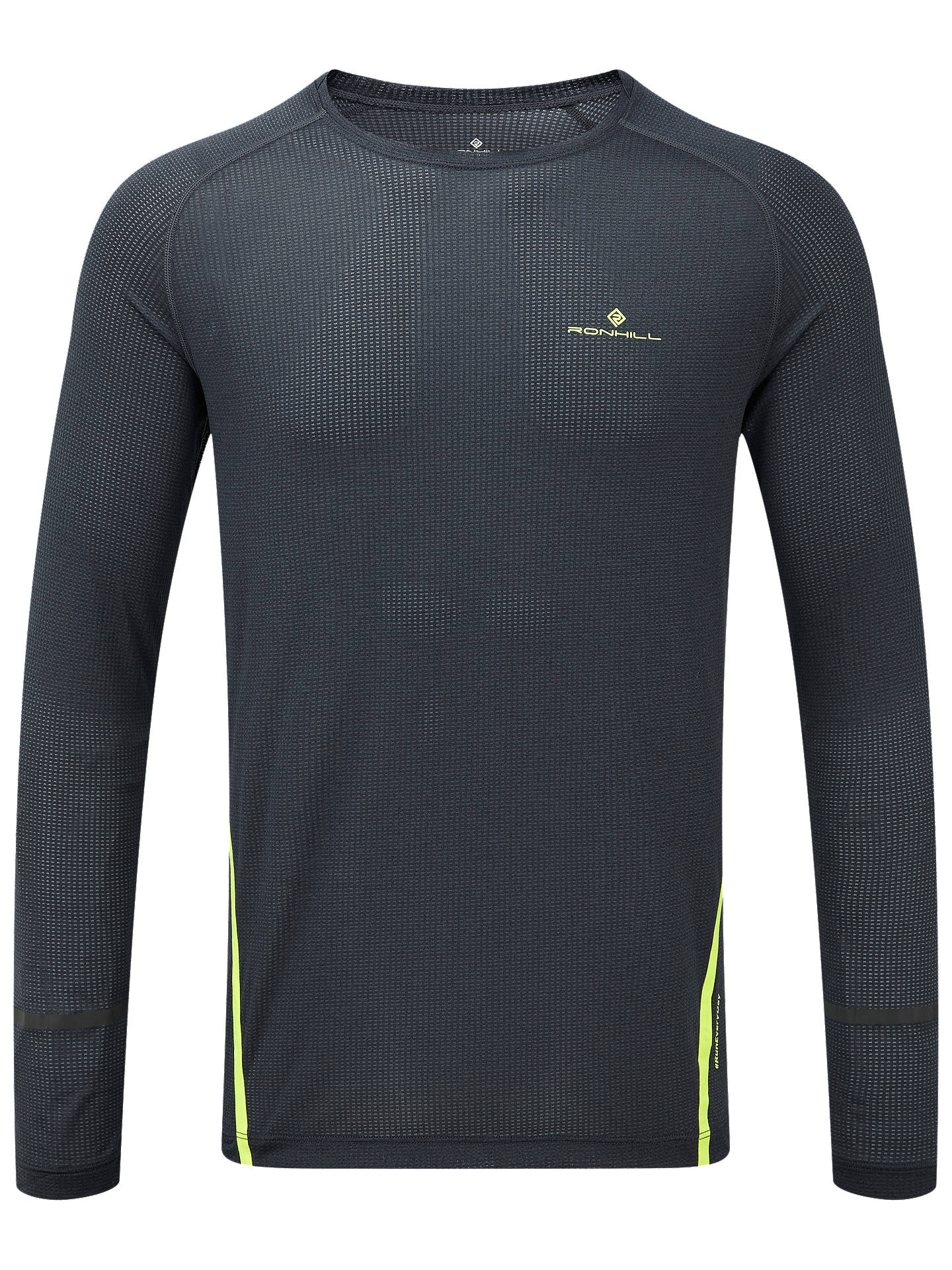 Buy Ronhill Stride Long Sleeve Running Top, Charcoal/Fluorescent Yellow, S Online at johnlewis.com
