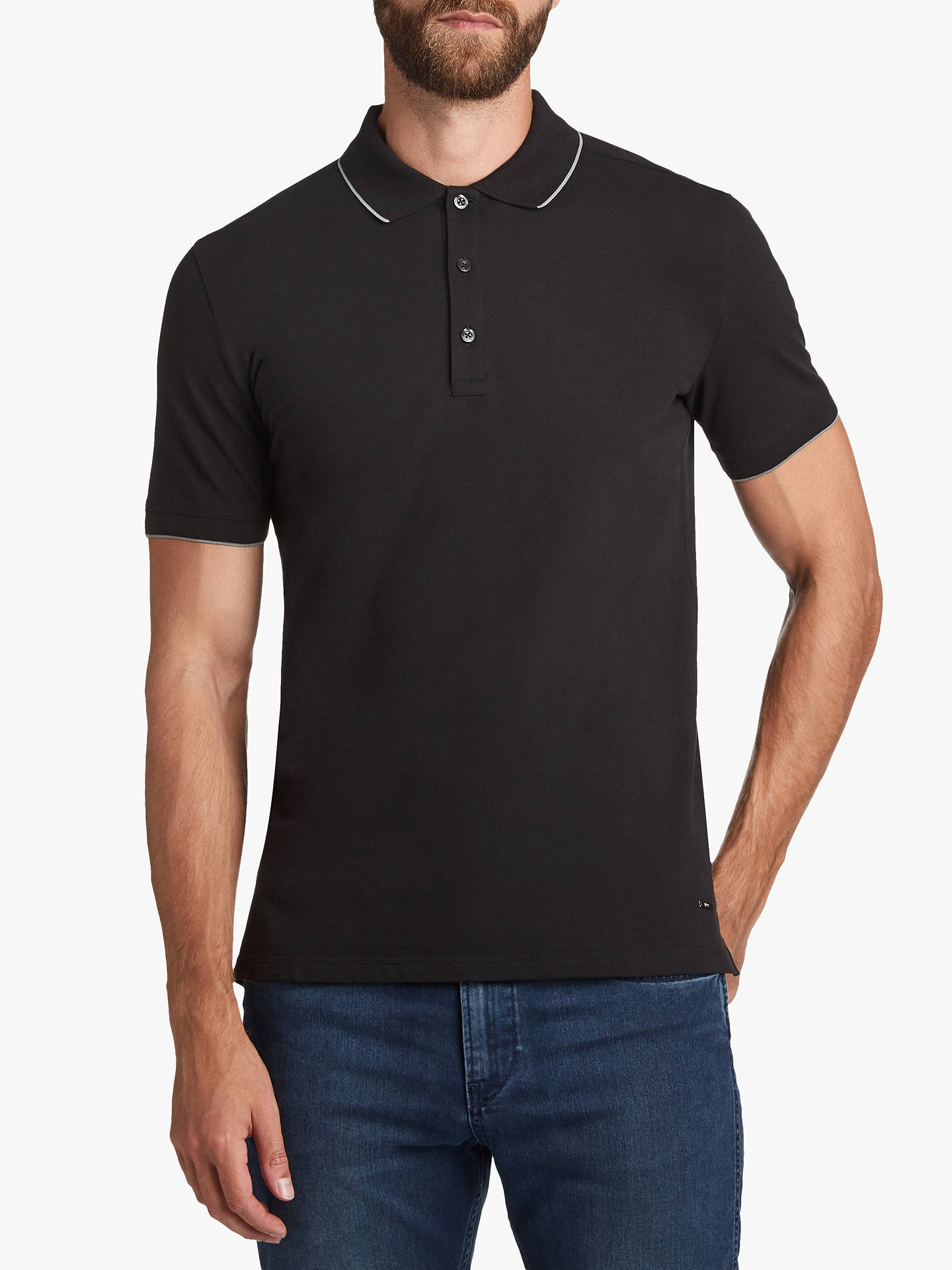 a831b3b3f Buy HUGO by Hugo Boss Dinoso Contrast Tipping Polo Shirt, Black, S Online  at ...