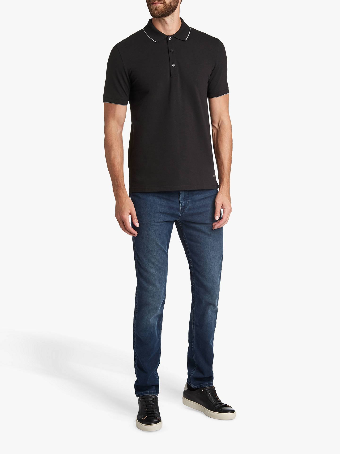 76b3c9c9c ... Buy HUGO by Hugo Boss Dinoso Contrast Tipping Polo Shirt, Black, S  Online at ...