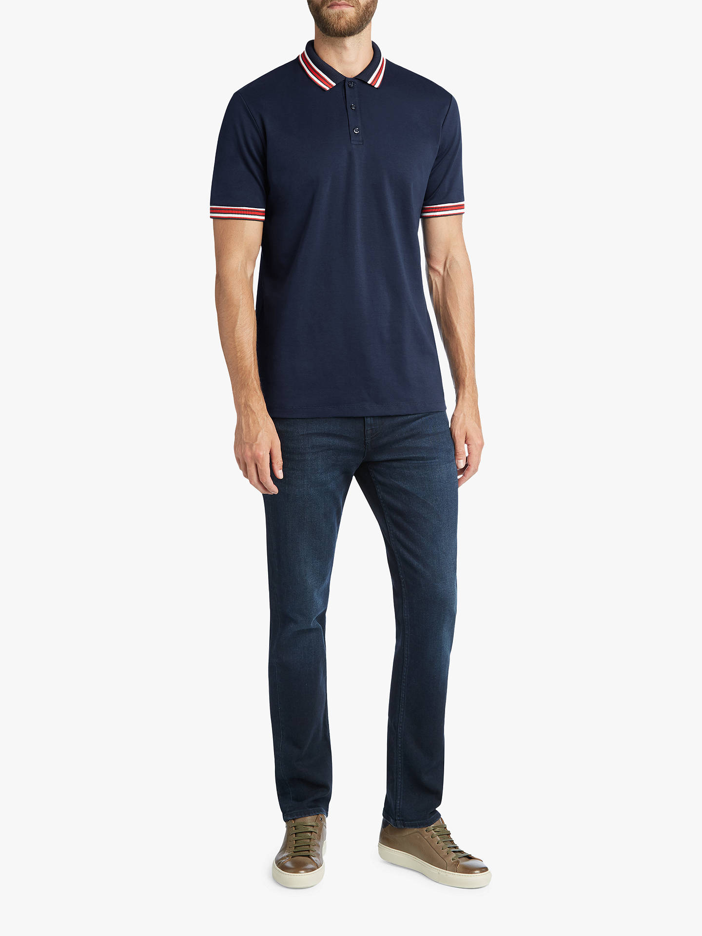 1bd9632b3 ... Buy HUGO by Hugo Boss Dancroft Tipping Stripes Polo Shirt, Navy, S  Online at ...