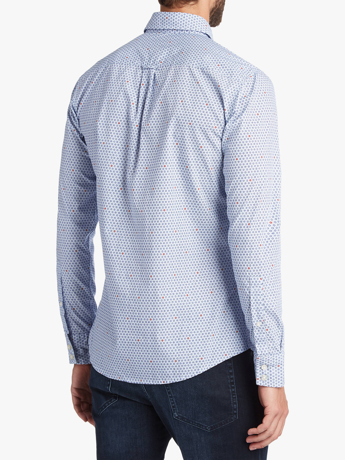 BuyBOSS Mabsoot Long Sleeve Pattern Shirt, Dark Blue, M Online at johnlewis.com
