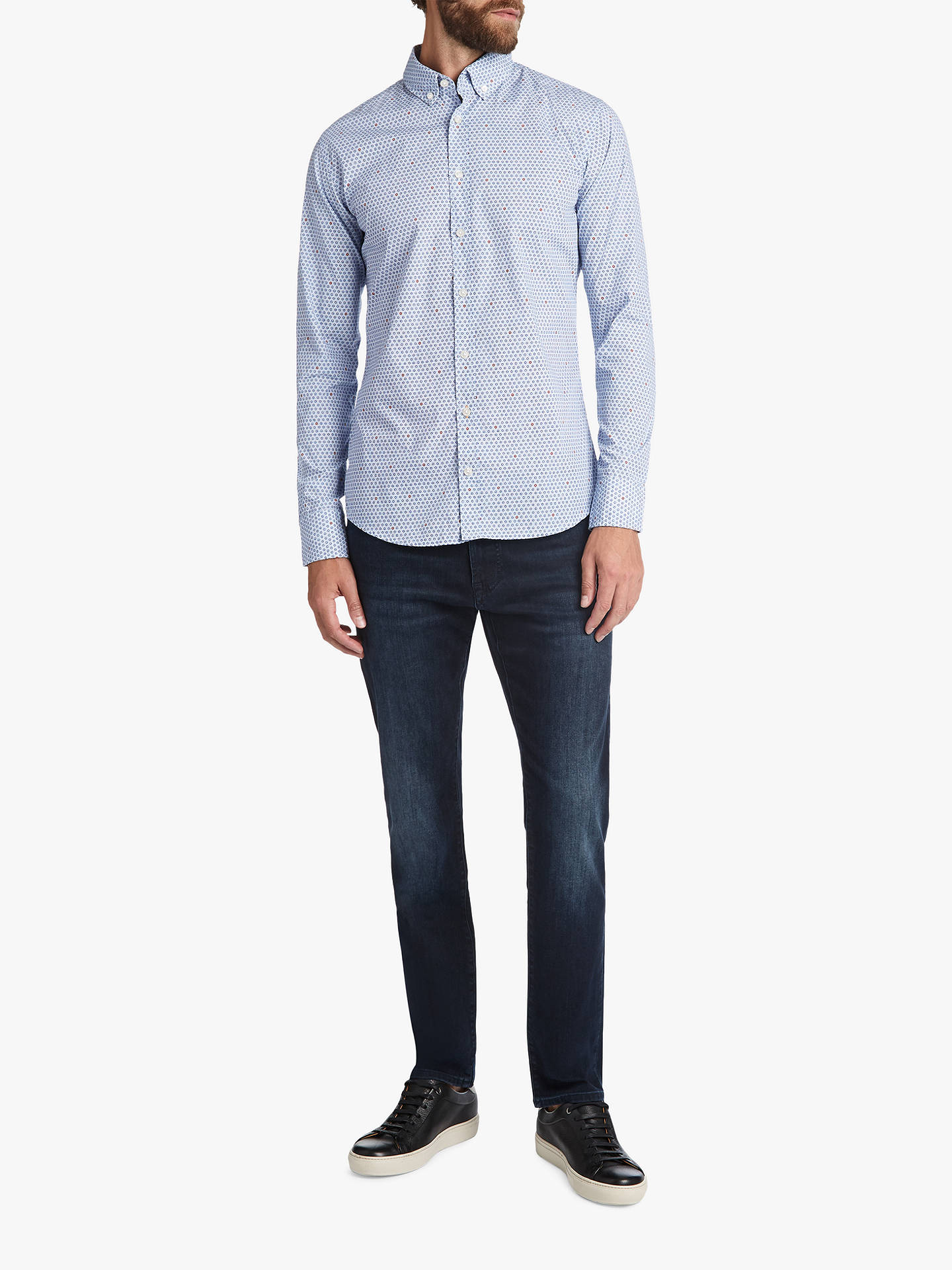 Buy BOSS Mabsoot Long Sleeve Pattern Shirt, Dark Blue, M Online at johnlewis.com