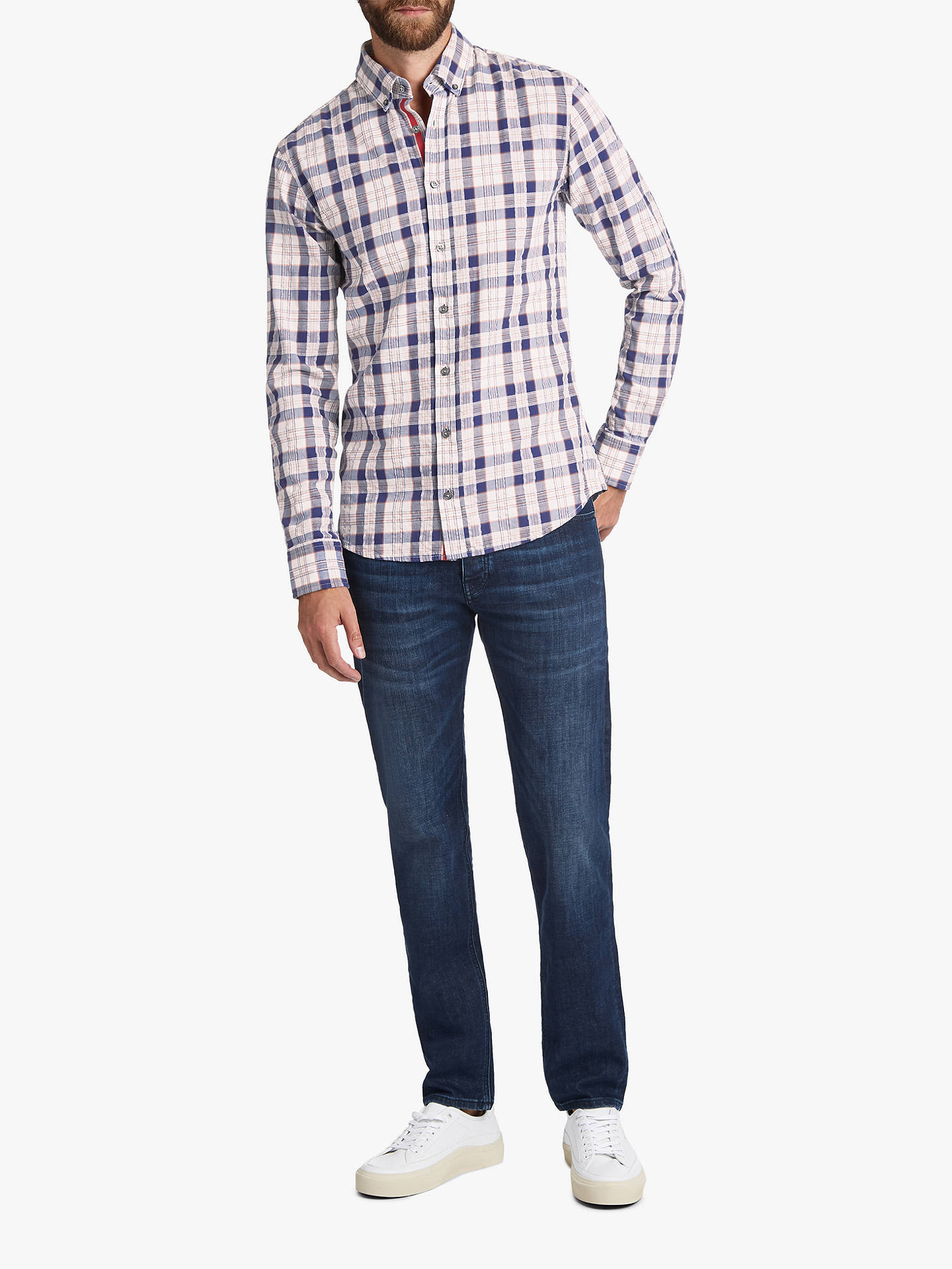 BuyBOSS Mabsoot Cotton Check Shirt, Open Blue, L Online at johnlewis.com
