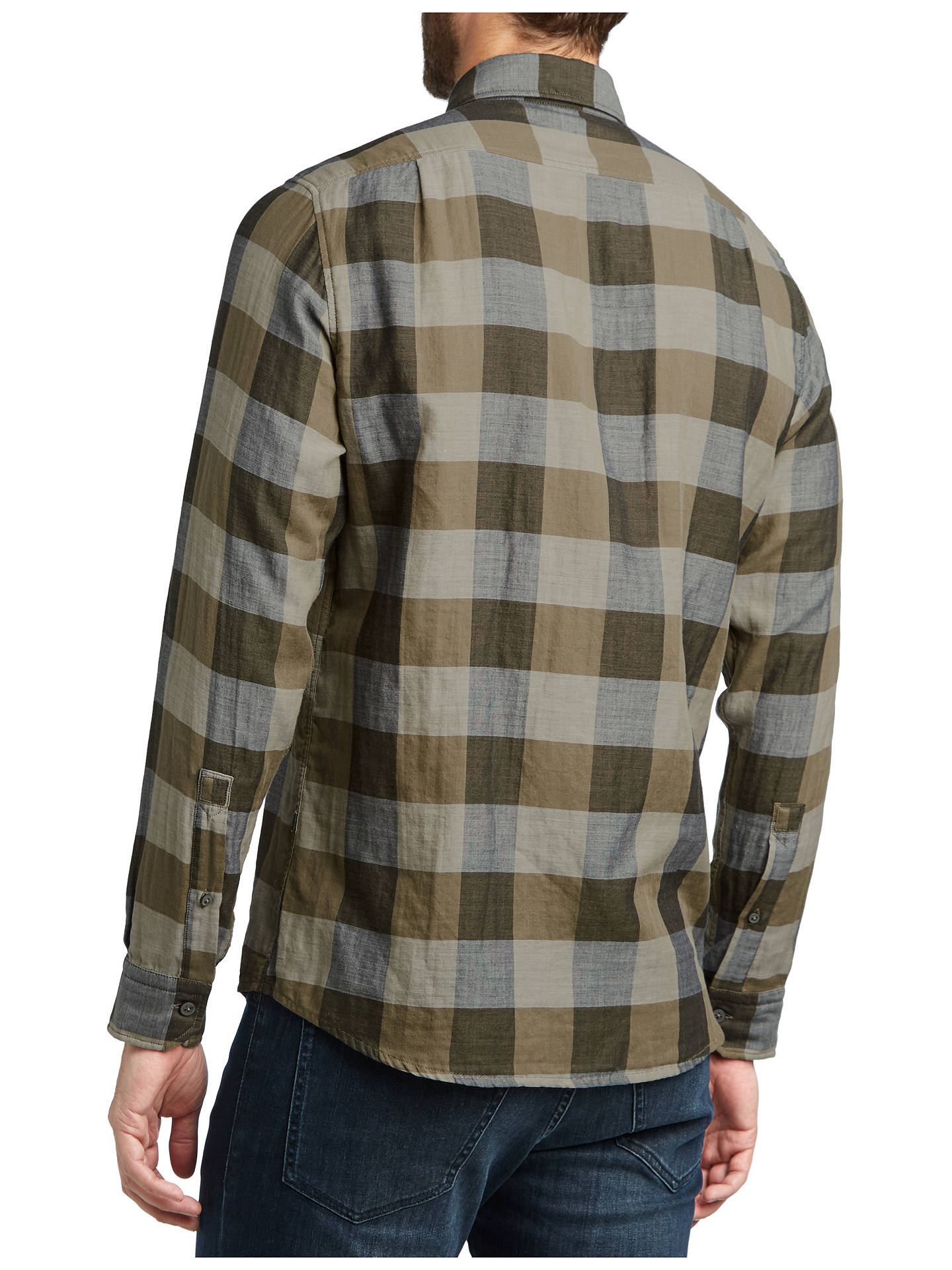 Buy BOSS Reggie Check Shirt, Open Beige, M Online at johnlewis.com