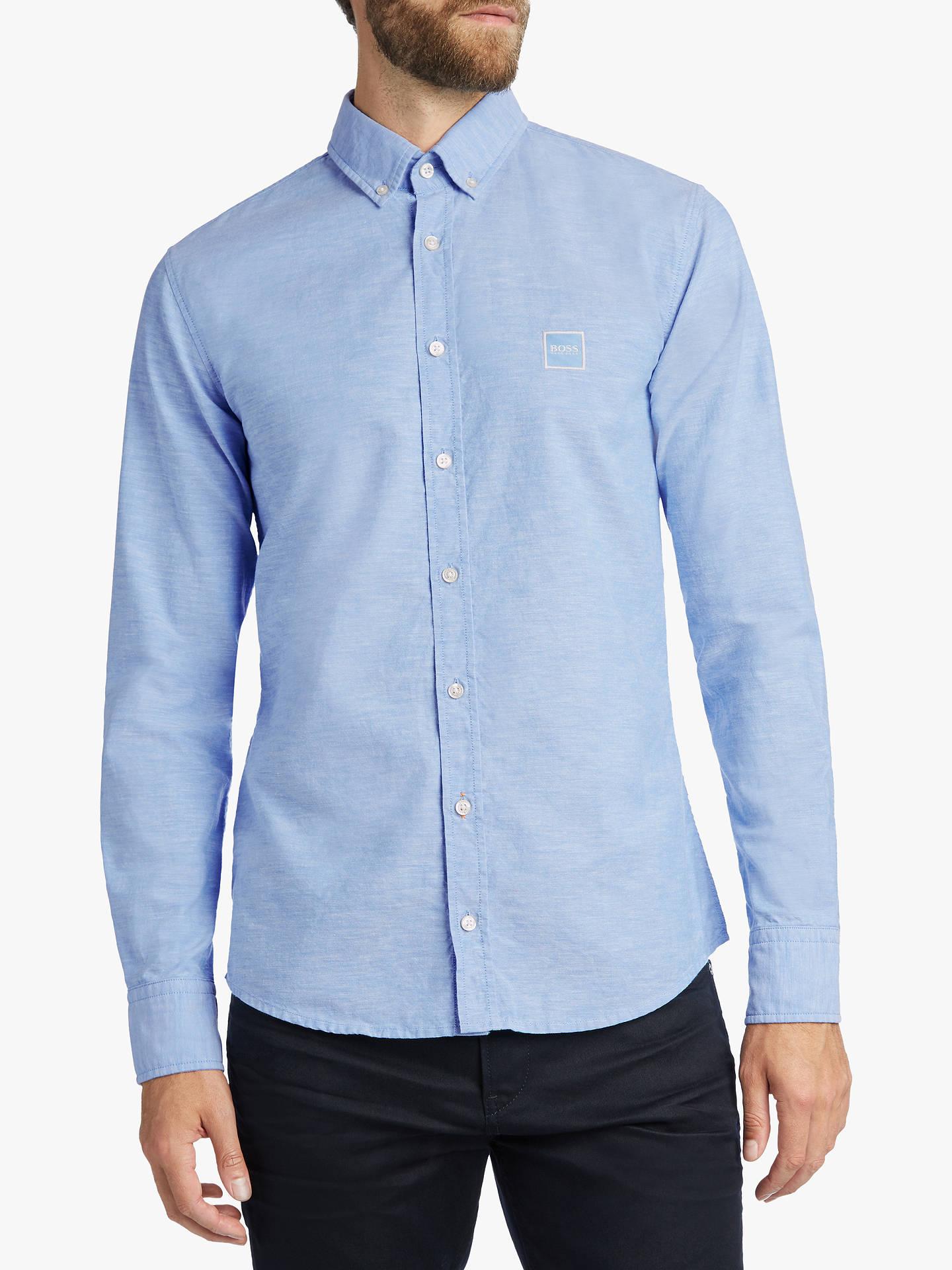 e1ca97c2d Buy BOSS Mabsoot Long Sleeve Logo Shirt, Open Blue, M Online at johnlewis.