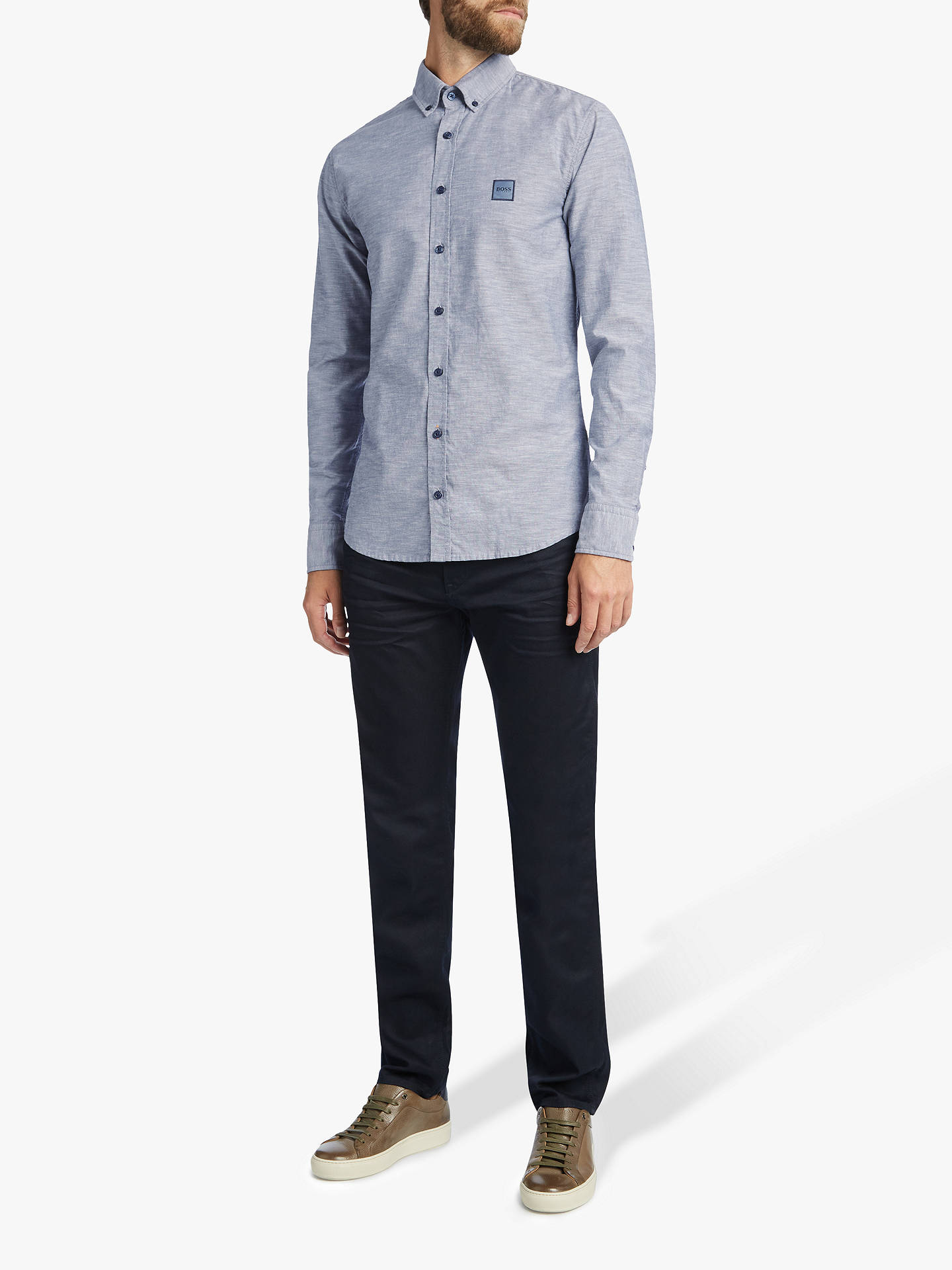 BuyBOSS Mabsoot Long Sleeve Shirt, Dark Blue, S Online at johnlewis.com
