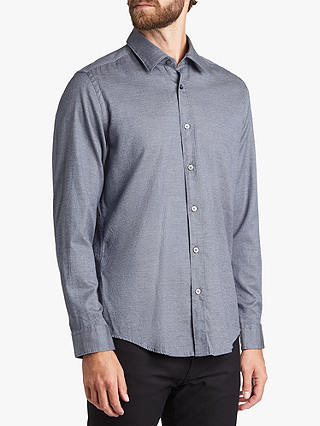 Buy BOSS Lukas Cotton Shirt, Open Blue, L Online at johnlewis.com
