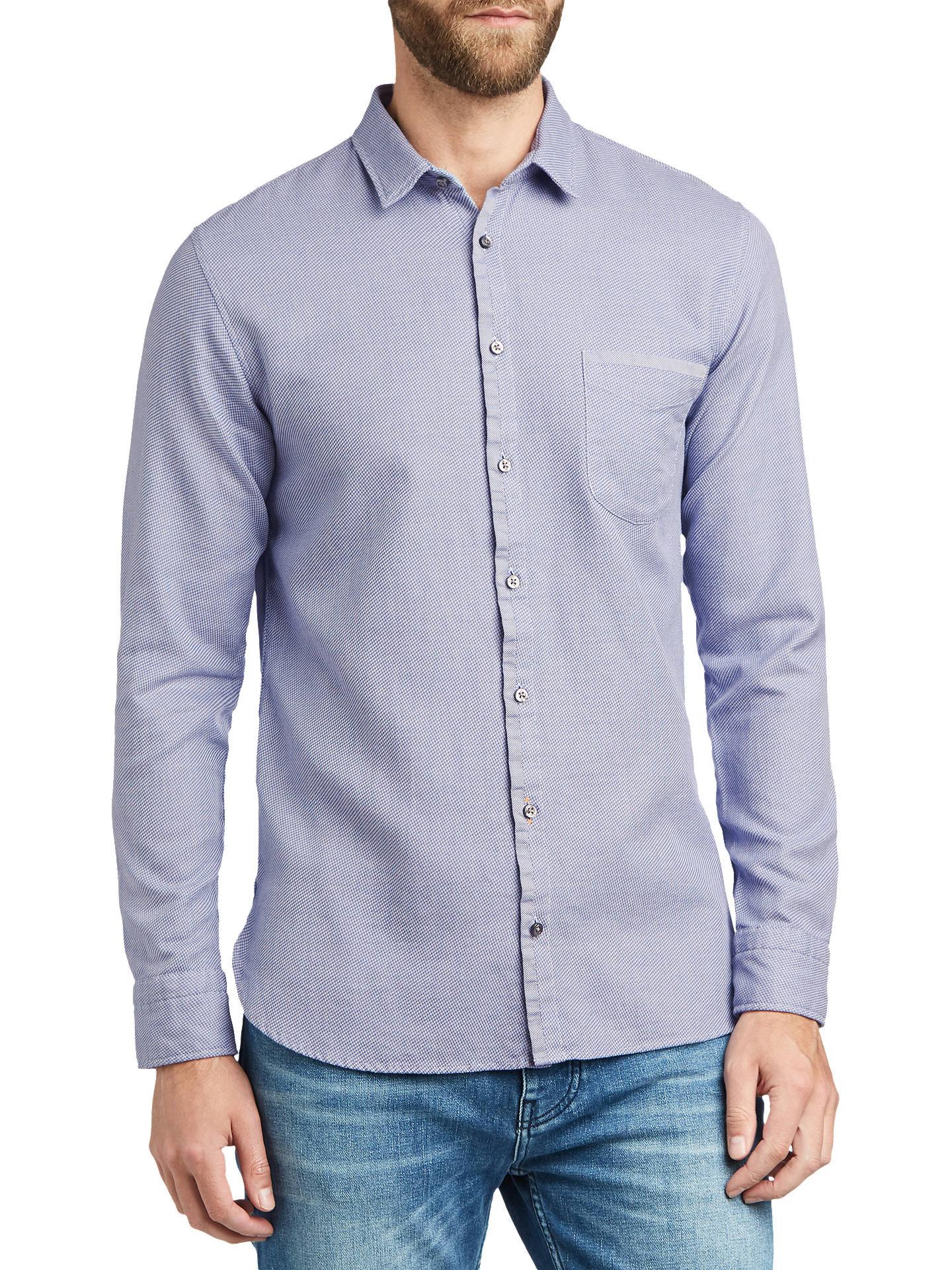 Boss Magneton Long Sleeve Slim Fit Printed Shirt Open Blue At John