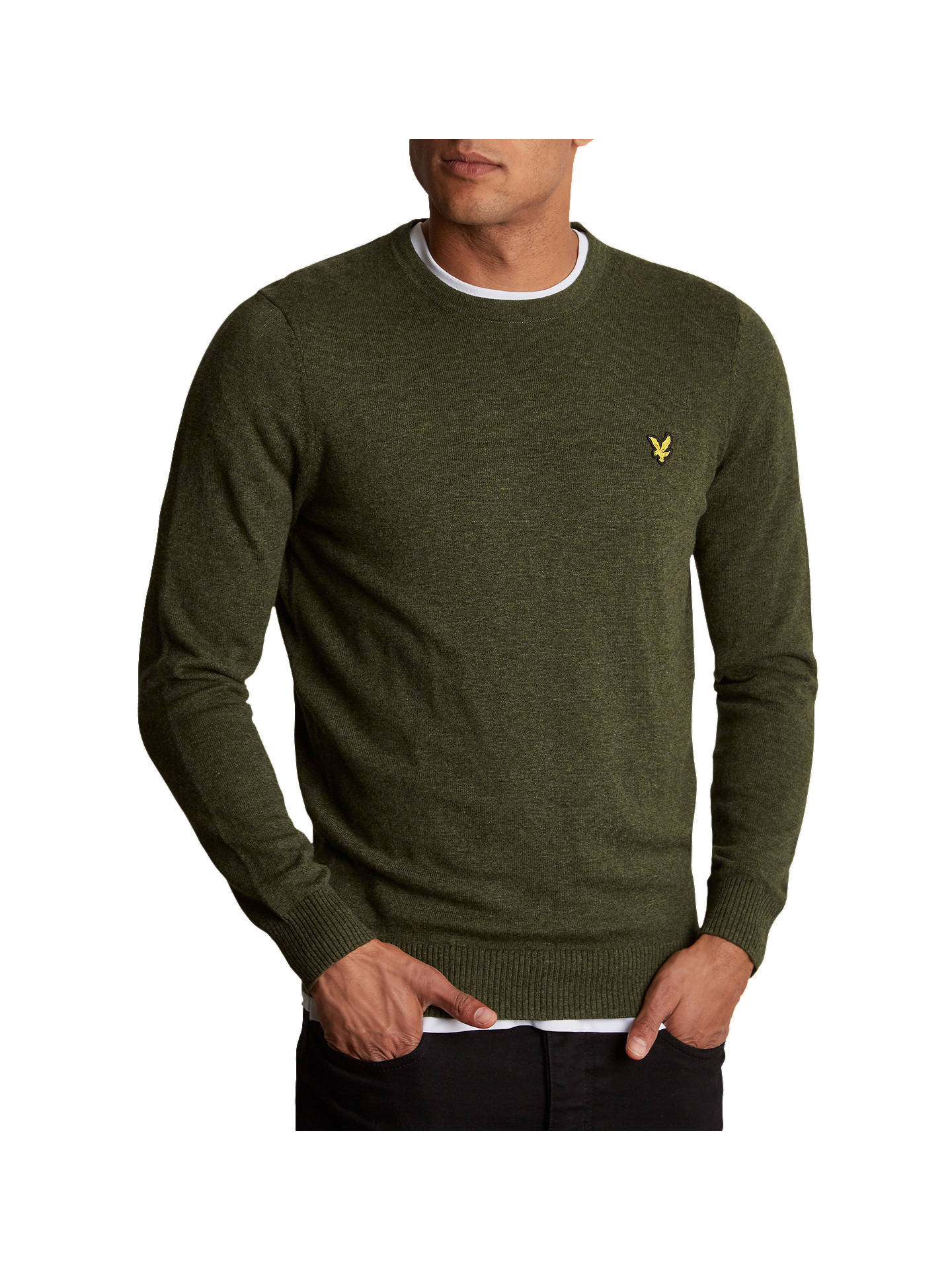 7de5f646f6b0 Buy Lyle & Scott Crew Neck Cotton Merino Jumper, Woodland Green Marl, S  Online ...