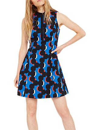 Damsel in a Dress Tayler Geometric Print Dress, Cobalt/Multi